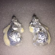 2 VINTAGE SQUIRRELS CERAMIC CHRISTMAS ORNAMENTS FROM WEST GERMANY