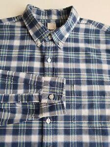 J.Crew Tailored Vintage Style Oxford Shirt Skim Fit Blue Check Cotton  *L* TR87