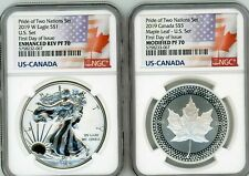 2019 PRIDE OF TWO NATIONS ASE SET NGC REVERSE PF70 FDOI FIRST DAY OF ISSUE
