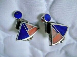 RAY TRACEY KNIFEWING SEGURA NAVAJO STER LAPIS, PINK CORAL INLAY PIERCED EARRINGS