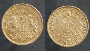 Allemagne . piece de 20 Mark Or / Gold Hambourg 1900 en superbe état