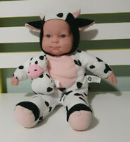 BERENGUER COW DOLL 30CM COW OUTFIT HOLDING A TOY COW