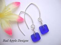 Square Royal Cobalt Blue Sea Glass Silver Marquise Hook Earrings Beach Hawaii