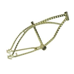 "Gold 20"" Twisted Bicycle Frame Lowrider Cruiser Bikes"