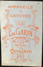 """EXPOSITION UNIVERSELLE PARIS 1900 """"APPAREILS DE LAITERIES EDM GARIN"""""""