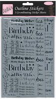 3 Sheets of Anita's silver outline stickers birthday thank you best wishes cute