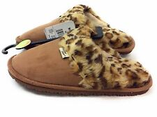 Western Chief Womens Plush Slip-On Outdoor Slipper Cheetah Scuff Brown Size 8 M