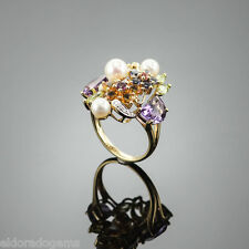 5.0 CT. AMETHYST PERIDOT CITRINE SAPPHIRE DIAMOND PEARL RING 14K YELLOW GOLD US7