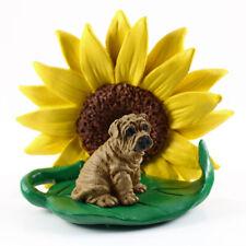 Shar Pei Sunflower Figurine Brown