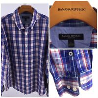 Banana Republic Mens Large Blue, White & Red plaid Long Sleeve Button Front H-58
