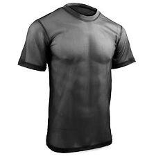 Mens Mesh Short Sleeve Breathable Wicking See Through T-Shirt Tee Top Black NEW