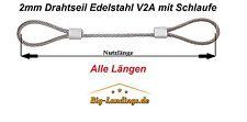 Drahtseil mit Schlaufe/Öse Edelstahl V2A allen Längen 2mm 3mm 4mm 5mm