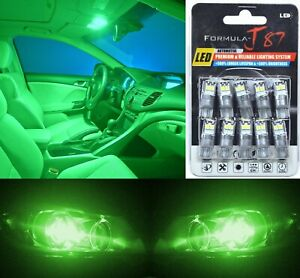 LED 3030 Light Green 168 Ten Bulbs Interior Dome Replacement Lamp Festoon Fit OE