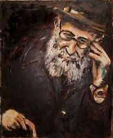 """Original Oil Painting Jewish Art Signed on Canvas """"In Deep Reflection"""""""