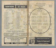 1971 VFL Football Record Hawthorn v St Kilda July 10 Hawks Saints