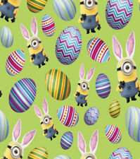 Despicable Me Minions Easter eggs Green 100% Cotton Fabric By The Yard