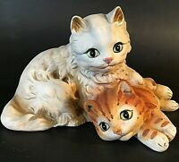 """VINTAGE KITTEN FIGURINE HAND DECORATED GINGER TIGER & WHITE CAT 7"""" BISQUE UCTCI"""