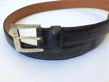 Mens Polo Ralph Lauren Black Reptile Embossed USA Leather Belt Size Small (S)