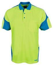 Jb's wear Hi Vis Arm Panel Short Sleeve Safety Polo UPF50+ Chest Pocket Easycare