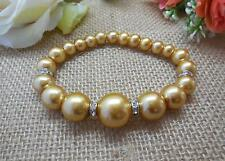 BRACELET, GOLD GLASS PEARLS WITH RHINESTONE SPACERS - 6560