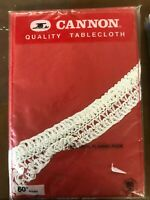 """VINTAGE - NEW NEVER OPENED 60"""" ROUND RED FLANNEL BACK TABLECLOTH CANNON"""