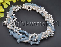 Z7807 4Strds 7mm White Rice Freshwater Pearl Aquamarine Crushed Stone necklace 1
