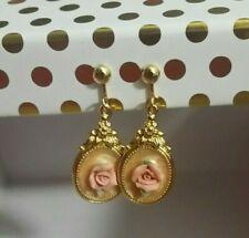 Vintage Porcelain Rose Enameled Victorian Reproduction Dangle Gold Tone Earrings