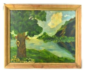 ANTIQUE 1935 OIL PAINTING IMPRESSIONIST LANDSCAPE BY ANNE MICHALOV PACIFIC NW