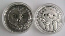 Mongolia - 2 x 500 Togrog - Silver .999 - Ural Owl + Hedgehog + Certyficates