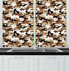 "Feminine Artisan Kitchen Curtains 2 Panel Set Window Drapes 55"" X 39"" Ambesonne"