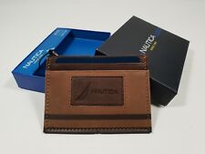 New Authentic Nautica Men's Armament Card Case Leather Wallet Gift Box Clearance