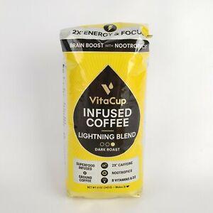 VitaCup Lightning Dark Roast Ground Coffee Infused Nootropics 2X Caffeine 12oz