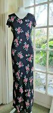 LAURA ASHLEY Short Sleeve Navy Floral Rose Print Maxi/Long Dress - UK 10
