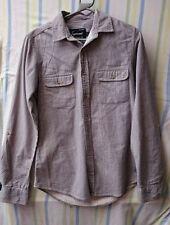 Mens Shirt By Topman Grey Size Small Feint Stripe 36-38 Chest Roll Sleeve