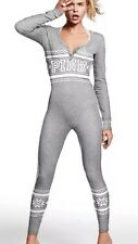 Victorias Secret Pink Fair Isle Snowake Thermal Long Jane Onesie Pajama Gray XS