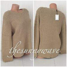 Calvin Klein Tan Metallic Gold Cable Knit Crewneck Lurex Long Sleeve Sweater L
