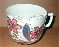 Vintage Mustache Mug/cup, Butterfly and Flowers with Heavy Gold Trim, Excellent