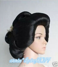 New Black Geisha Wig Full Wigs Plate Hair Anime Wigs Cosplay Wig + wigs cap
