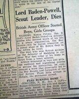 ROBERT BADEN-POWELL Boy Scouts Movement Founder DEATH 1941 WWII Era Newspaper