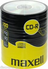 100 Maxell CD-R Blank Recordable Discs CDs CDR SHRINK WRAPED Bulk Pack CLEARANCE