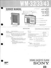 Sony Original Service Manual für WM- 32 / 33 / 43