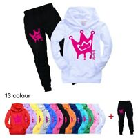 Royally B Kids Tracksuit Brianna's Merch Pocket Hoodie Hooded +Pants Casual Set