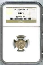 "British India 1911-C ""Pig"" 2 Annas NGC MS-63"
