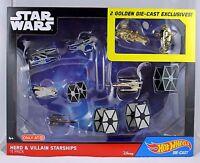 Hot Wheels Star Wars Starships Hero & Villain Gold Exclusives 11 pcs Diecast NIB
