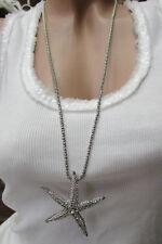 Collier pour femmes étoile de Mer Strass Chaîne en argent Vintage pendentif