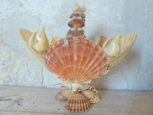 RARE Antique FRENCH c1900 SHELL ART Seashell Encrusted Basket
