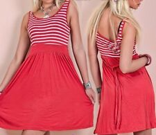 Mignon Femme Girly Été Robe Mini Rayures Blanc Rouge 34/36/38 Freesize Neuf Top