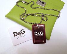 Orig. D&G Dolce&Gabbana Dog Tag inkl. Kette - NEU&OVP - Edelstahl mit Leder