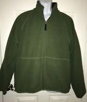 Cabelas Olive Green Full Zip  Fleece Jacket, Mens Large