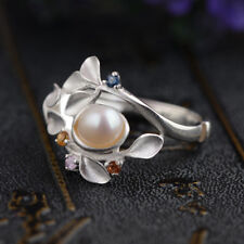 925 Silver Pearl Fashion Beauty Women Jewelry Engagement Wedding Ring Size 6-10